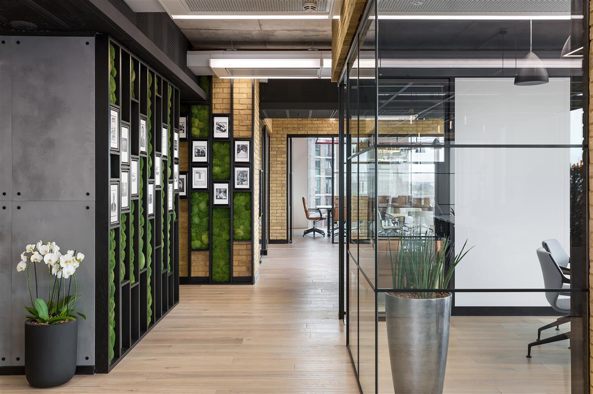 Las paredes y los techos verdes son una característica clave en toda la oficina de Toyota Connected EU en Londres, diseñada y construida por Tétris UK
