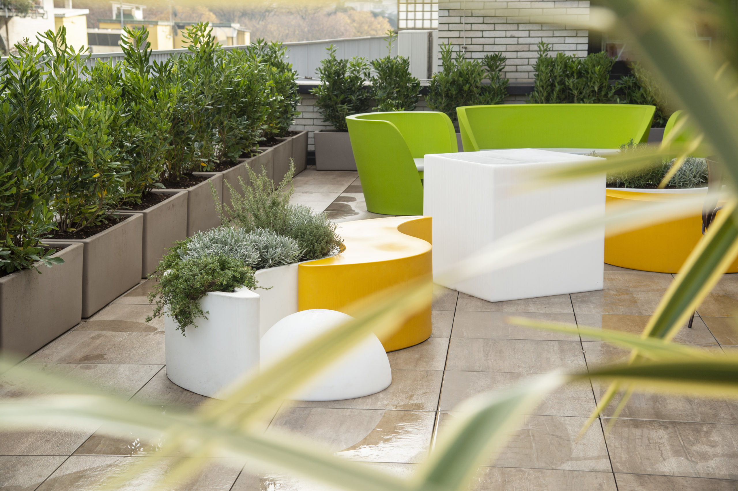 Outdoor terrace at The Fork in Milan, Italy